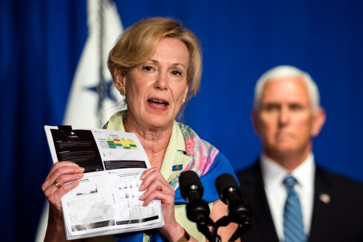 <strong>White House coronavirus response coordinator Dr. Deborah Birx (with Vice President Mike Pence during a White House Coronavirus Task Force briefing in Washington, July 8, 2020) told reporters that every school district should have a detailed plan in place for what to do when a student or staff member tests positive for COVID-19.</strong>&nbsp;(Manuel Balce Ceneta/AP)