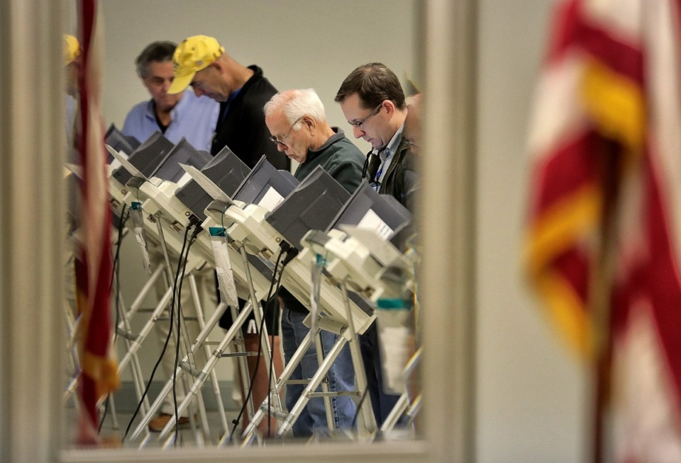 <strong>Voters (in a file photo) cast early-voting ballots at New Bethel Missionary Baptist Church.</strong> (Jim Weber/Daily Memphian)