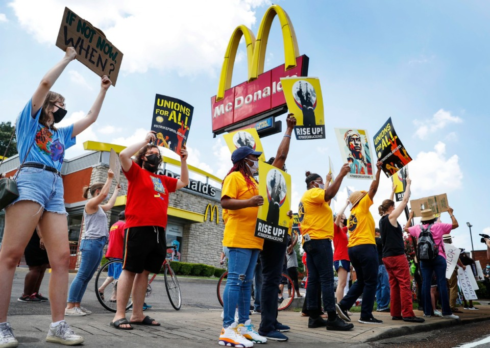<strong>Protesters attend a Fight for $15 strike for Black Lives outside McDonald&rsquo;s on Monday, July 20, 2020 on Union Avenue.</strong> (Mark Weber/Daily Memphian)