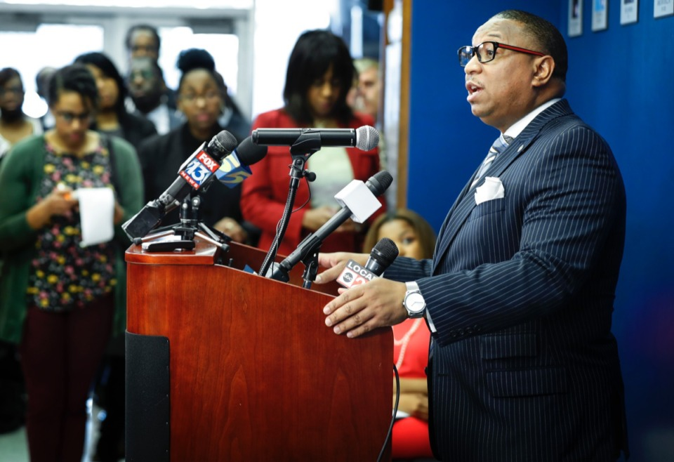 <strong>Shelby County Schools superintendent Dr. Joris M. Ray (right) addresses a health department press conference on Monday, March 9, 2020. Whartever plans are made for the fall semester, COVID-19 will have a vote. (</strong>Mark Weber/Daily Memphian)