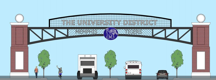 <span><strong>University of Memphis President&nbsp;David Rudd last week tweeted an iimage of a proposed sign marking an entrance into The University District.</strong> (University of Memphis)</span>