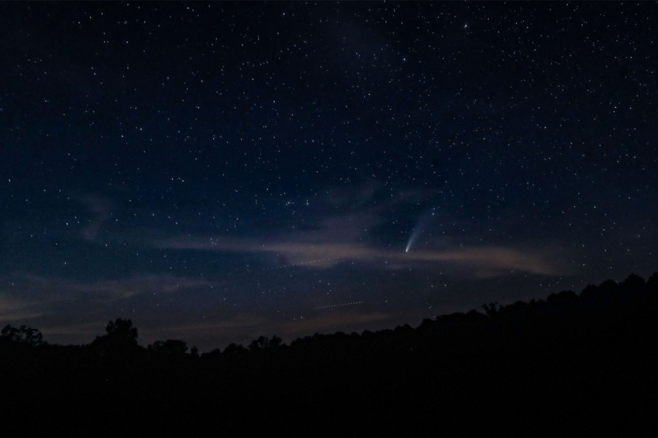 <strong>The comet NEOWISE can be seen streaking above the night sky above Big Hill Pond State Park July 19, 2020.</strong> (Patrick Lantrip/Daily Memphian)