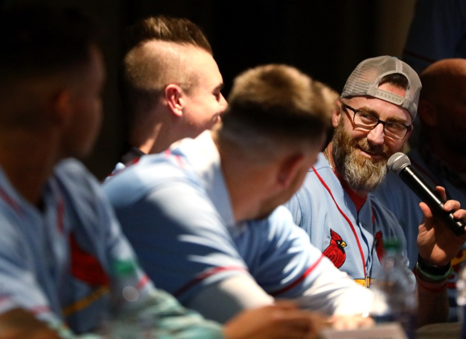 <strong>Jason Motte (right), former pitcher for the Memphis Redbirds, fields a question at the Cardinals Caravan event in January 2019. He says he always played pedal to the metal. &ldquo;Usually I went until I couldn&rsquo;t lift my arm.&rdquo;</strong> (Houston Cofield/Daily Memphian)