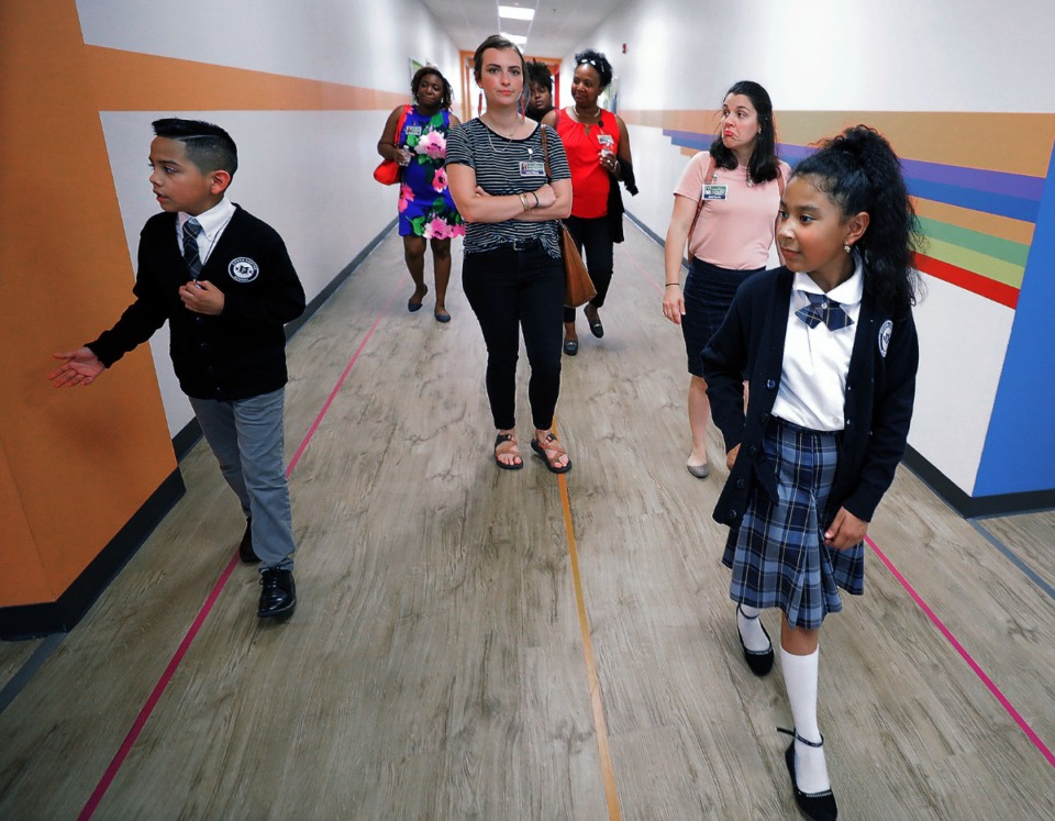 <strong>Students lead a tour of Power Center Academy Elementary School in Hickory Hill Sept. 17, 2019. The school, which opened in August, 2019, is one of many closed temporarily during the coronavirus pandemic.</strong> (Patrick Lantrip/Daily Memphian)