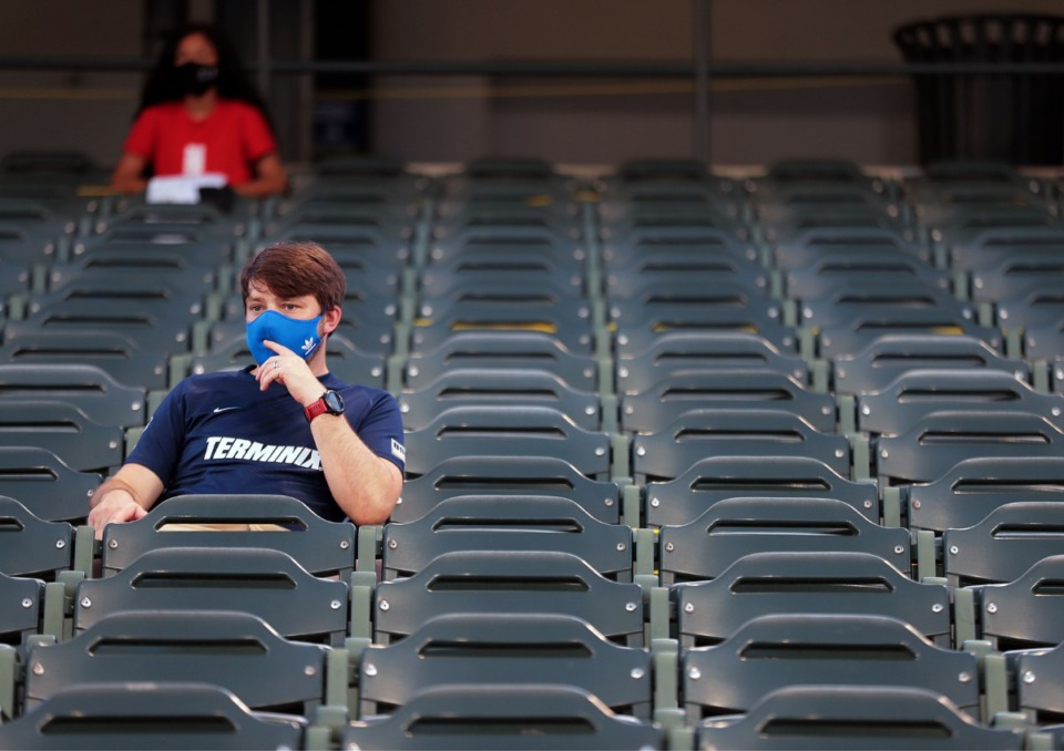 <strong>A fan sits by himself, socially distancing during a July 25, 2020, Memphis 901 FC home game at AutoZone Park.</strong> (Patrick Lantrip/Daily Memphian)
