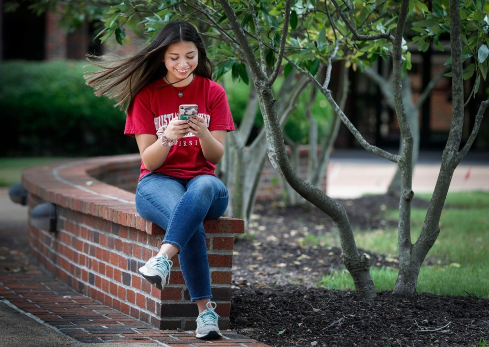 <strong>Christian Brothers University senior Sonia Jaramillo chats virtually with Director of Campus Ministry Joseph Preston on Wednesday, July 22, 2020. Since the start of the pandemic Jaramillo has turned to her faith to help get though these tough times.</strong> (Mark Weber/Daily Memphian)
