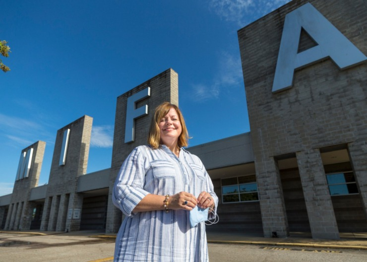 <strong>New MIFA Chief Development Officer (CDO) Anna Kathryn Word is seen in front of MIFA in Downtown Memphis on July 27, 2020.</strong> (ZIggy Mack/Special to The Daily Memphian)