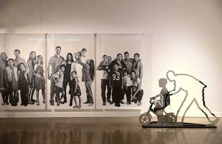 <strong>Cut-out silhouettes of families are part of the Barrier Free Art exhibition, an artistic response to the humanitarian crisis at the border with migrants and existing immigrant detention centers.</strong> (Houston Cofield/Daily Memphian)