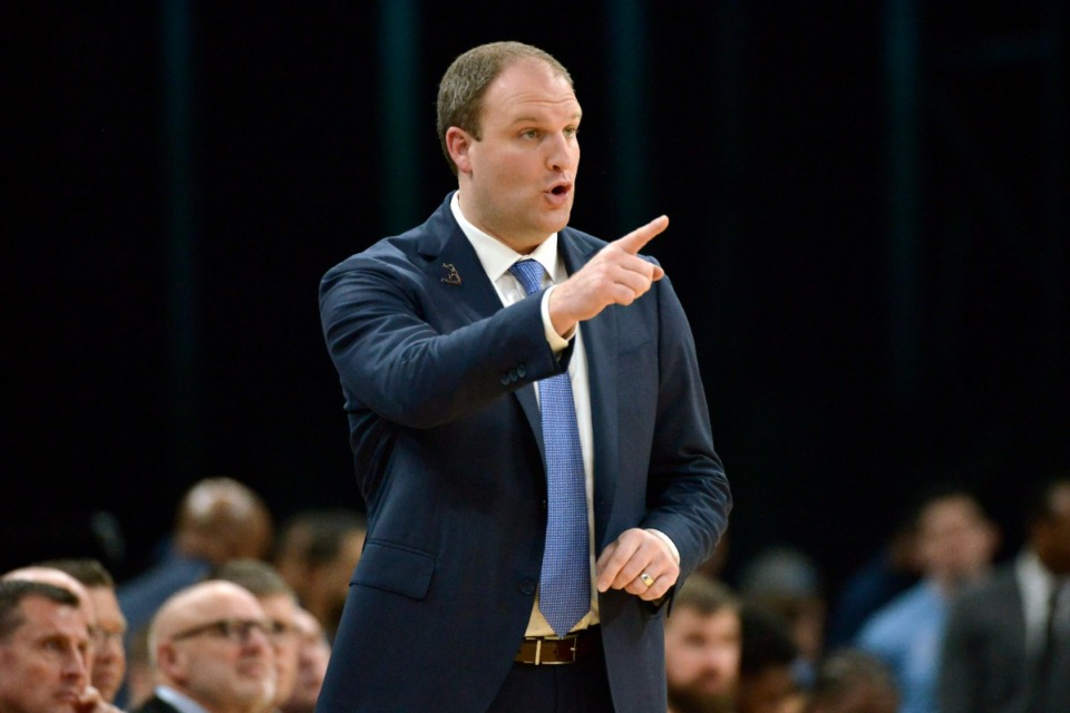 <strong>Memphis Grizzlies head coach Taylor Jenkins calls to players in the first half of an NBA basketball game against the New Orleans Pelicans Monday, Jan. 20, 2020, in Memphis, Tennessee</strong>. (AP Photo/Brandon Dill)