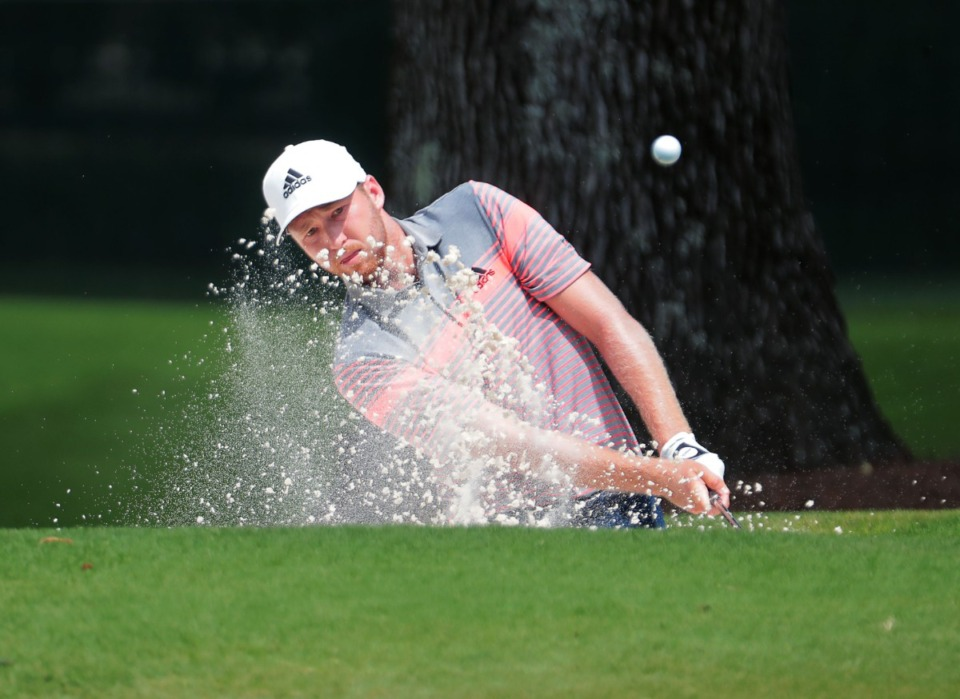 <strong>Daniel Berger chips onto the 10th green during the first day of the WGC-FedEx St. Jude Invitational at TPC Southwind in Memphis Thursday July 30, 2020.</strong> (Patrick Lantrip/Daily Memphian)