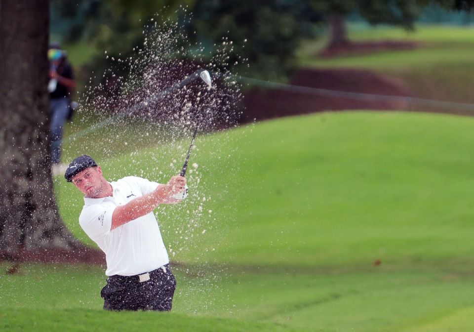 <strong>Bryson DeChambeau hits out of a sand trap on the 10th green at TPC Southwind in Memphis Thursday July 30, 2020.</strong> (Patrick Lantrip/Daily Memphian)