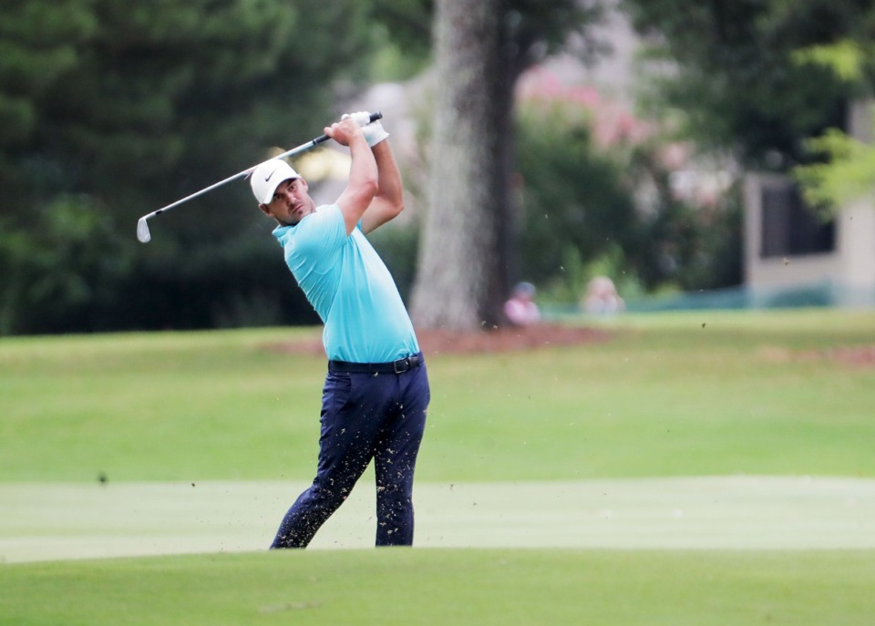 <strong>Brooks Koepka drives from the fairway of the 17th hole at TPC Southwind in Memphis Thursday July 30, 2020.</strong> (Patrick Lantrip/Daily Memphian)
