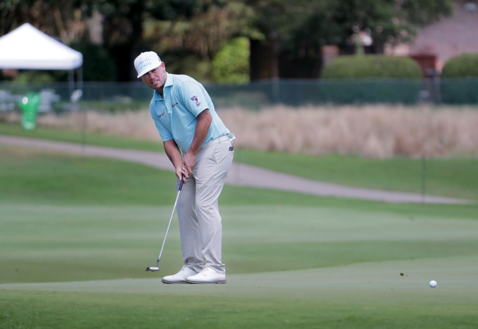 <strong>Chez Reavie, who finished 4-under on July 30, eyes a putt at TPC Southwind.</strong> (Patrick Lantrip/Daily Memphian)