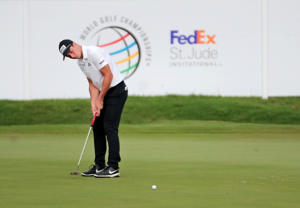 <strong>Viktor Hovland watches his putt on the 11th hole during the WGC-FedEx St. Jude Invitational at TPC Southwind on Friday, July 31.</strong> (Patrick Lantrip/Daily Memphian)