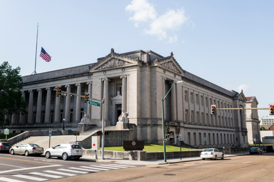 <strong>The Shelby County Courthouse at BB King and Adams St.&nbsp;</strong>(Daily Memphian file)