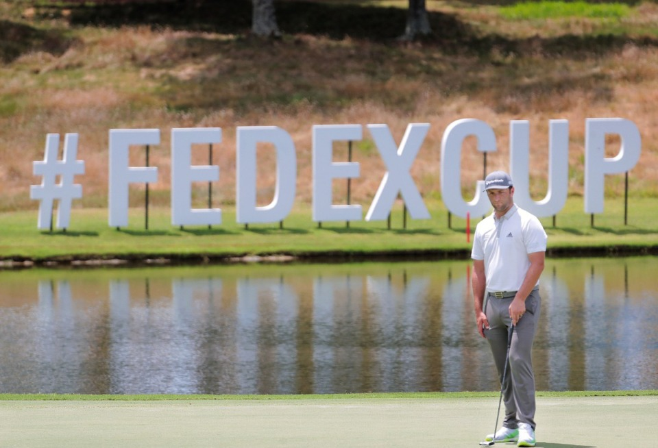 <strong>Jon Rahm lines up his putt on the 15th hole during the second day day of the WGC-FedEx St. Jude Invitational at TPC Southwind in Memphis Thursday, July 30, 2020.</strong> (Patrick Lantrip/Daily Memphian)