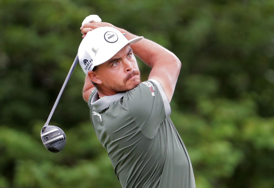 <strong>Rickie Fowler tees off on the 18th hole during the third round of the WGC-FedEx St. Jude Invitational in Memphis, Tennessee, Aug. 1, 2020.</strong> (Patrick Lantrip/Daily Memphian)