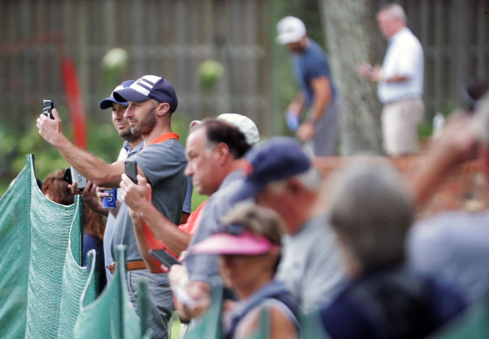 <strong>Several dozen fans came out to watch from their various back yards during the third round of the WGC-FedEx St. Jude Invitational in Memphis, Tennessee, Aug. 1, 2020.</strong> (Patrick Lantrip/Daily Memphian)