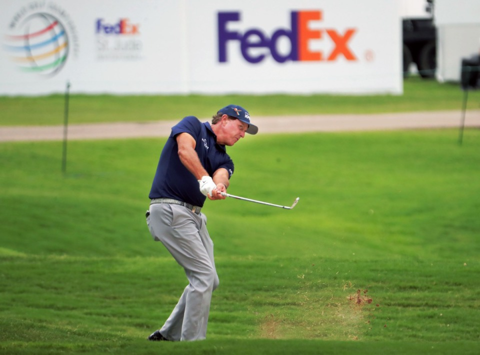 <strong>Phil Mickelson hits from the fairway of the 18th hole during the third round of the WGC-FedEx St. Jude Invitational in Memphis, Tennessee, Aug. 1, 2020.</strong> (Patrick Lantrip/Daily Memphian)