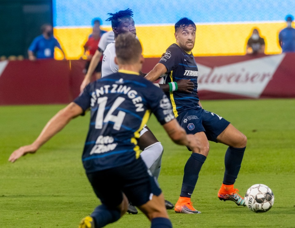 <strong>Memphis 901 FC' forward Brandon Allen, gets the pass from Rafael Mentzingen at AutoZone Park Saturday, August 1, 2020.</strong> (Greg Campbell/Special to The Daily Memphian)