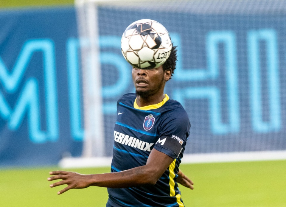 <strong>Memphis 901 FC defender Tristan Hodge keeps his eye on the ball before kicking it to a midfielder during the match between St. Louis FC at AutoZone Park Saturday, August 1, 2020. Memphis won the contest 1-0.</strong> (Greg Campbell/Special to The Daily Memphian)