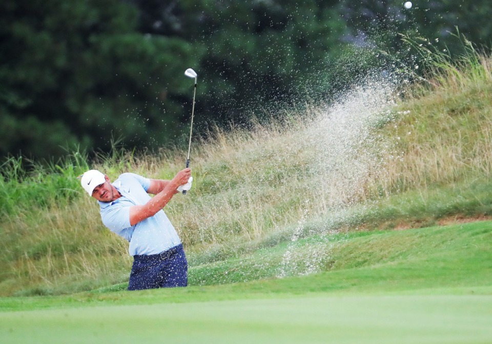 <strong>Brooks Koepka escapes a bunker during the third round of the WGC-FedEx St. Jude Invitational in Memphis, Tennessee Aug. 1, 2020.</strong> (Patrick Lantrip/Daily Memphian)