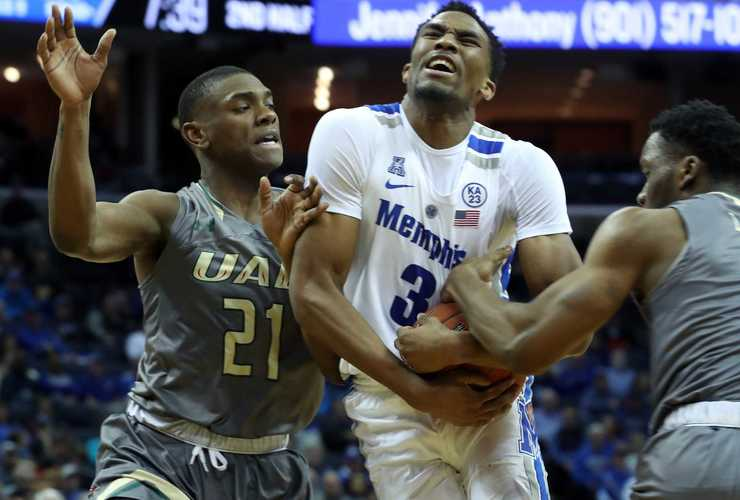 "<strong>University of Memphis guard Jeremiah Martin (3) holds onto the ball as UAB's Jalen Perry (21) moves in </strong><span class=""s1""><strong>during a game Saturday, Dec. 8, 2018, at FedExForum.</strong> (Karen Pulfer Focht/Special to The Daily Memphian)</span>"