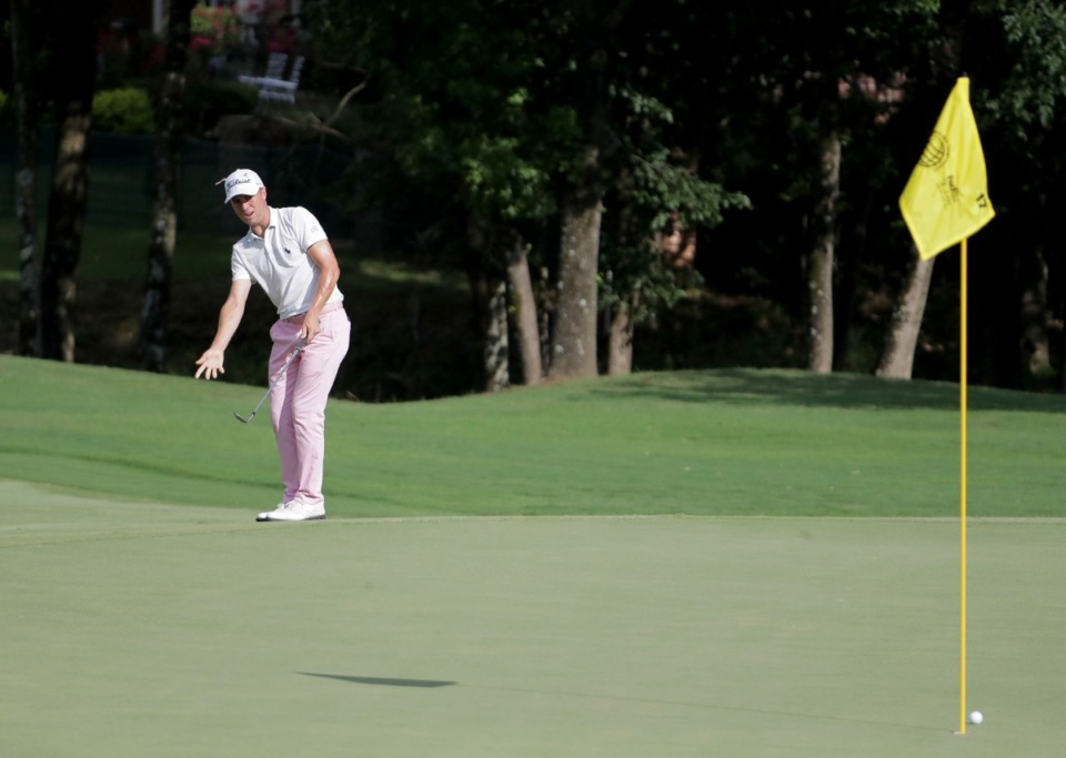 <strong>Justin Thomas&nbsp;(on the 17th hole at TPC Southwind, Aug. 2, 2020) was wearing shoes designed by a St. Jude patient named Nate.</strong> (Patrick Lantrip/Daily Memphian)