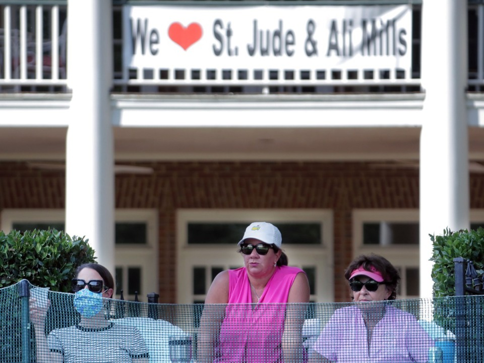 <strong>Fans watch the drama unfold on the 18th green from their backyards during the final round of the WGC-FedEx St. Jude Invitational in Memphis, Tennessee Aug. 2, 2020.</strong> (Patrick Lantrip/Daily Memphian)