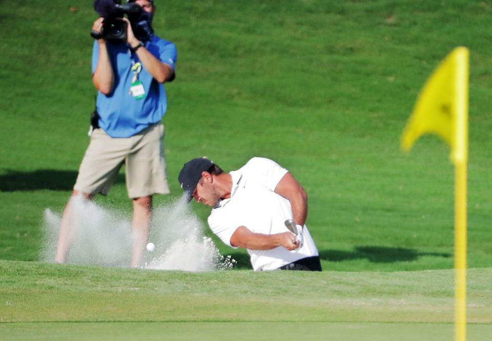 <strong>Brooks Koepka hits out of a bunker on the 18th green during the final round of the WGC-FedEx St. Jude Invitational in Memphis, Tennessee Aug. 2, 2020.</strong> (Patrick Lantrip/Daily Memphian)