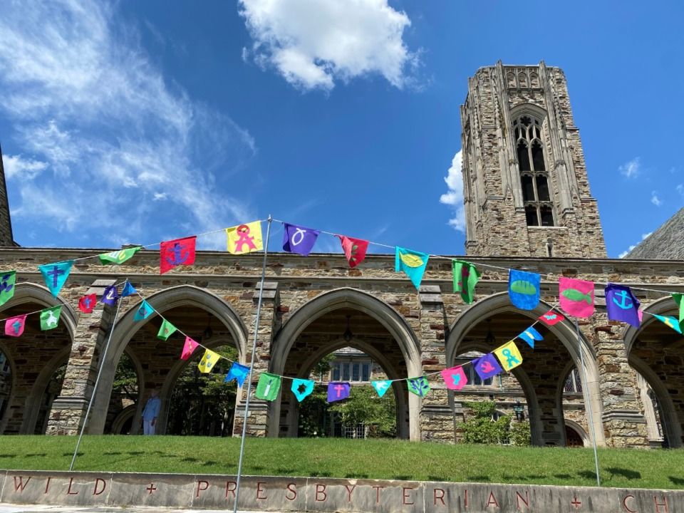 <strong>Idlewild Presbyterian Church this week is displaying dozens of colorful prayer flags on its Union Avenue campus to grieve Rev. Dr. Steve Montgomery&rsquo;s death and express the congregation&rsquo;s love and appreciation for his life and ministry.&nbsp;</strong>(Submitted)