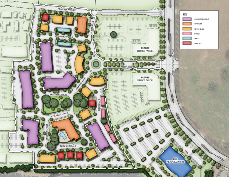 <strong>A map shows the 256 rental units proposed for the&nbsp;&ldquo;Water Tower District&rdquo; in Schilling Farms.</strong> (Submitted)