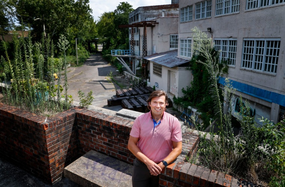 <strong>Ethan Knight of Development Services Group, stands on Madison Ave. overlooking what will soon be the The Ravine on Tuesday, August 4, 2020. The Ravine will be a sunken, linear park-like space that bisects the Edge District.</strong> (Mark Weber/Daily Memphian)