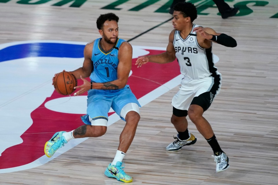 <strong>Memphis Grizzlies' Kyle Anderson (1) dribbles up the court against San Antonio Spurs' Keldon Johnson (3) during the second half of an NBA basketball game Sunday, Aug. 2, 2020, in Lake Buena Vista, Fla.</strong> (AP Photo/Ashley Landis, Pool)