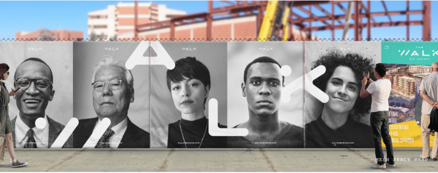 <strong>The Walk&rsquo;s construction fence will feature faces of people who have contributed to the mixed-use project.</strong> (Courtesy of Loaded For Bear)