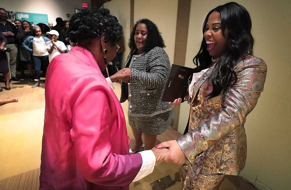 <strong>Newly elected Tennessee State Senators Raumesh Akbari and Katrina Robinson (right) bring up State Rep. Barbara Cooper to speak during a watch party at the Stax Museum on election night, Nov. 6, 2018. Akbari&nbsp;<span>will serve as chairman of the Senate Democratic Caucus in the 111th General Assembly and chairs the Tennessee Black Caucus of State Legislators.</span></strong>&nbsp;(Jim Weber/Daily Memphian file)