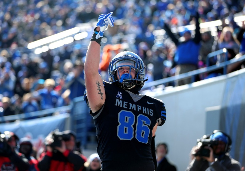 <strong>Memphis Tigers tight end Joey Magnifico (86) celebrated a touchdown during a game in November 2018.</strong> (Houston Cofield/Daily Memphian)