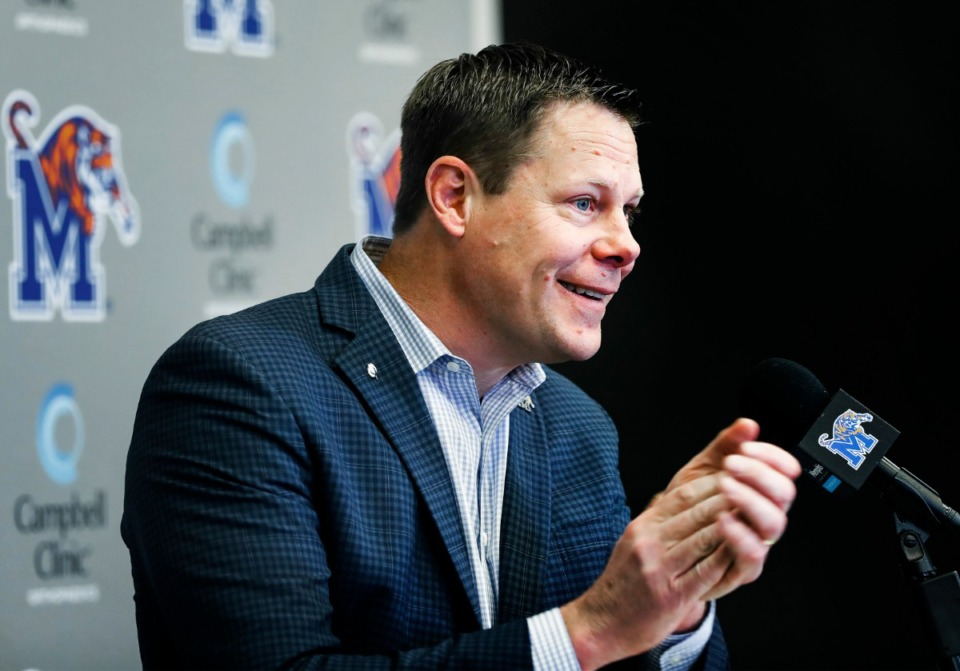 <strong>In this file photo, Memphis athletics director Laird Veatch addresses the media regarding the departure of head football coach Mike Norvell Dec. 8, 2019.</strong> (Mark Weber/Daily Memphian file)