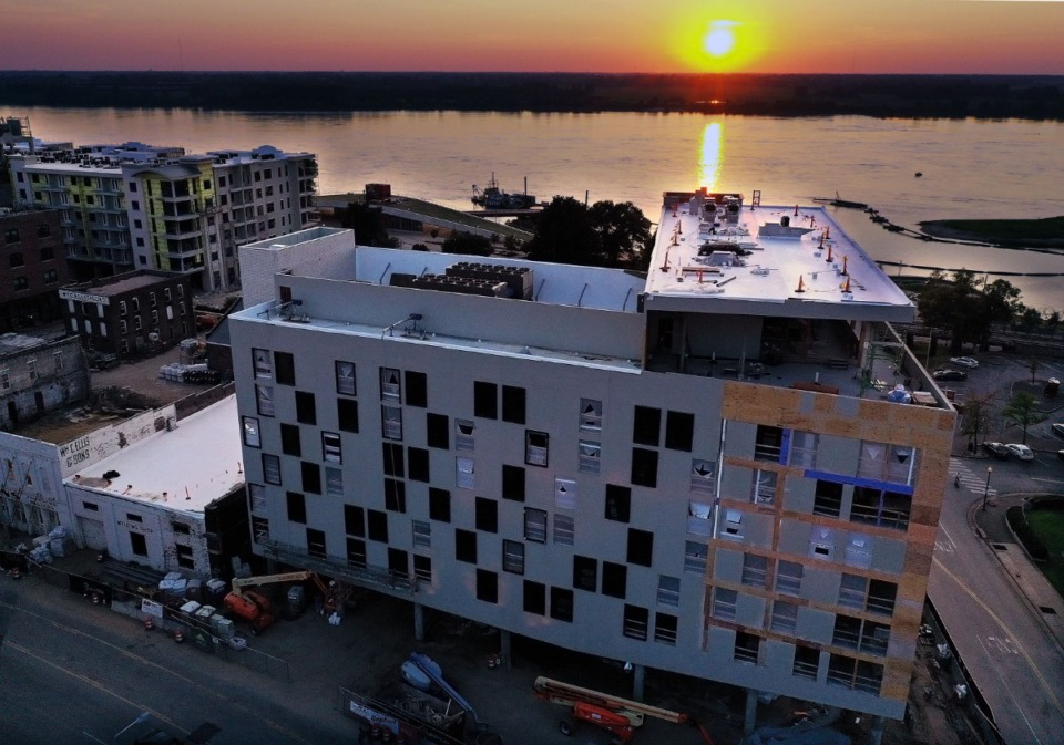 <strong>The sun sets over the Hyatt Centric hotel at One Beale Aug. 7, 2020. Construction continues for the project despite the concerns from the coronavirus-plagued economy that many similar projects are facing.</strong> (Patrick Lantrip/Daily Memphian)