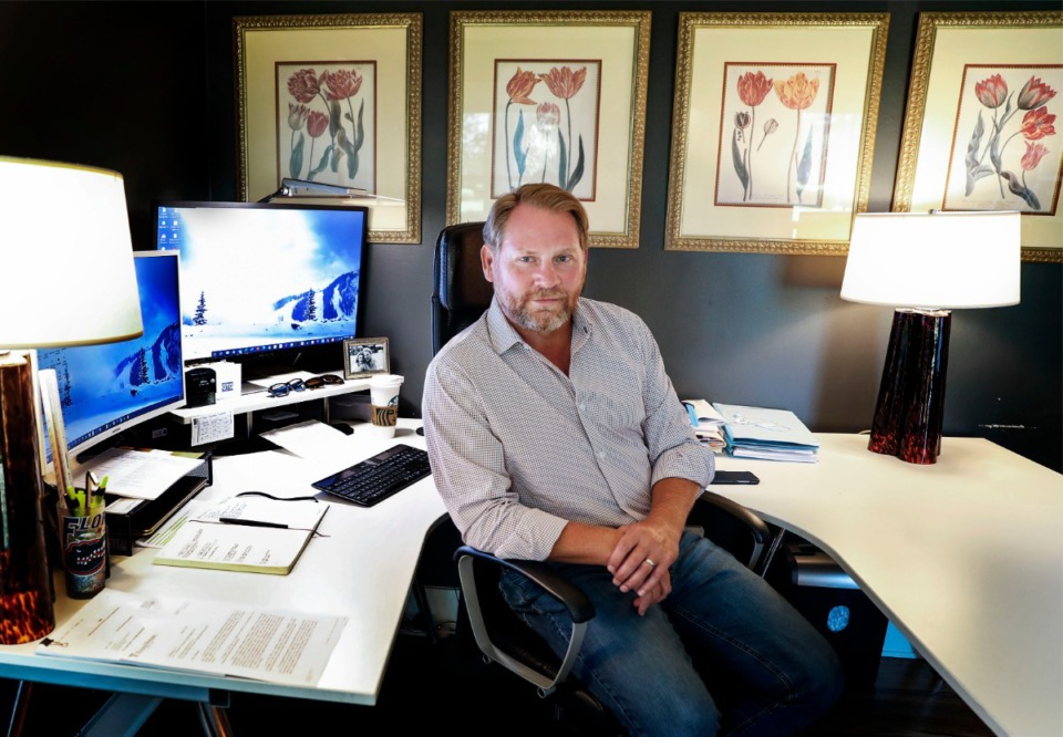 <strong>Shane Soefker sits in his home office on Thursday, August 6, 2020. He recently upgraded his home&rsquo;s internet access to help with the increased load during the COVID-19 safer-at-home restrictions.</strong> (Mark Weber/Daily Memphian)