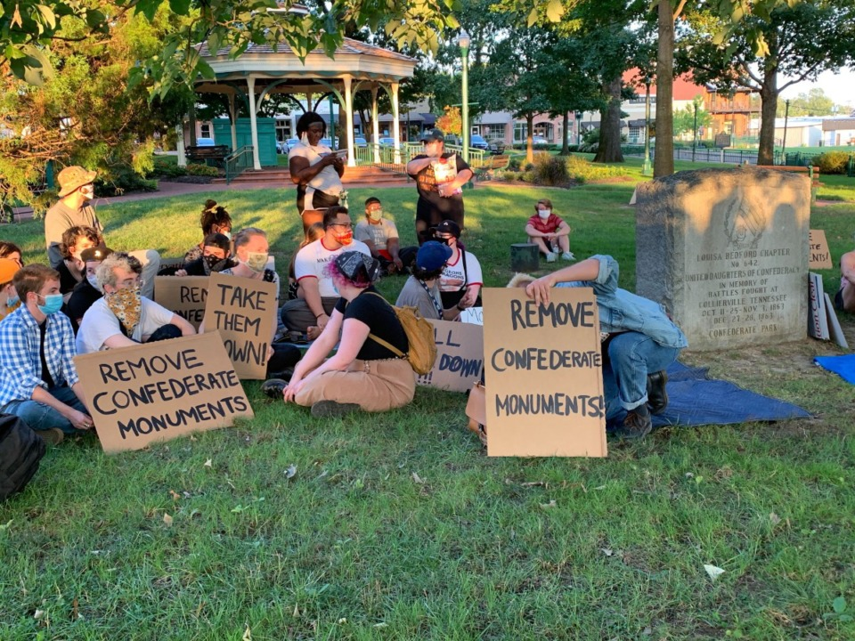 <strong>About 30 protesters gathered Sunday, Aug. 9, 2020 at Collierville&rsquo;s town square park.</strong> (Abigail Warren/Daily Memphian)