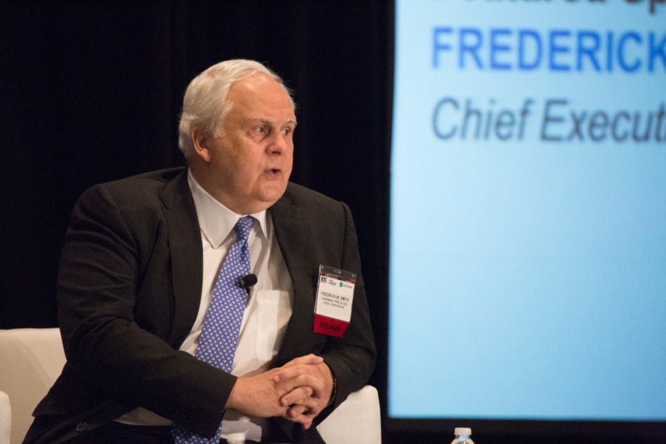 <strong>Frederick Smith speaks at the Inland Distribution Conference Oct. 7, 2015.</strong> (Daily Memphian file)