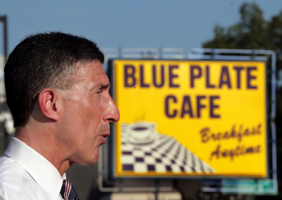 <strong>Republican U.S. Rep. David Kustoff of Germantown talks to reporters outside the Blue Plate Caf&eacute; in Memphis on Tuesday, Aug. 11. During&nbsp; the Congressional recess, Kustoff has been visiting diners and restaurants in his district. Outside the Blue Plate, Kustoff said he is asking what small-business owners want to see in a pandemic relief package.&nbsp;</strong>(Patrick Lantrip/Daily Memphian)