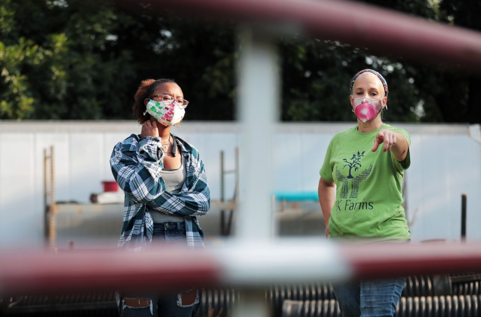 <strong>Abby Titus (left) and Abby Mauwong go over a plan to fix a fence that contain new arrival Wilbur the goat.</strong> (Patrick Lantrip/Daily Memphian)