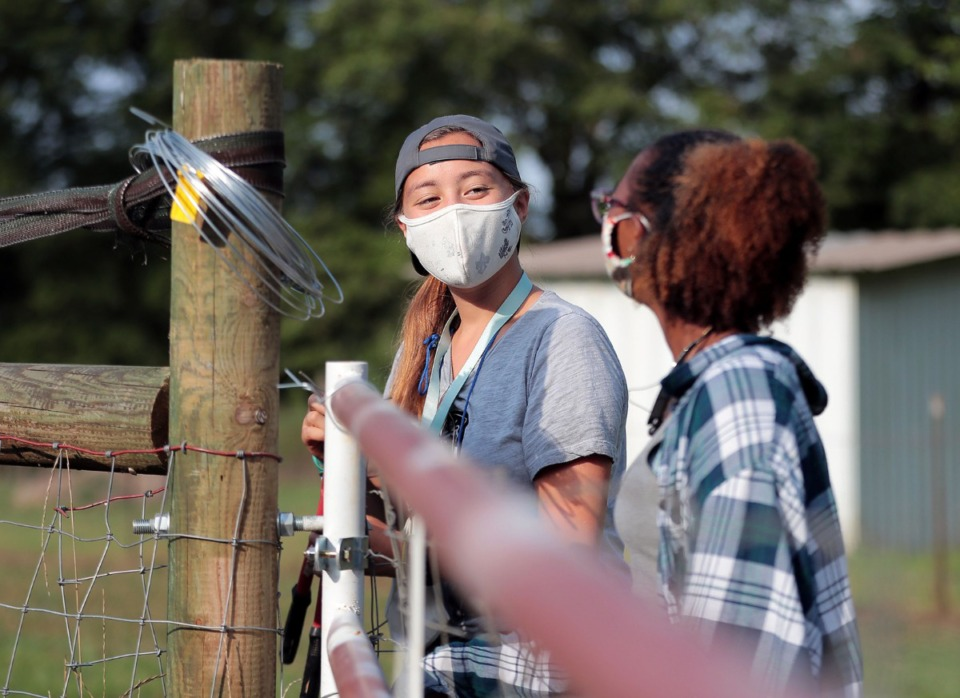 <strong>Anna Mauwong (left) and Abby Titus joke with each other while fixing a fence at ARK Farms July 15, 2020.</strong> (Patrick Lantrip/Daily Memphian)