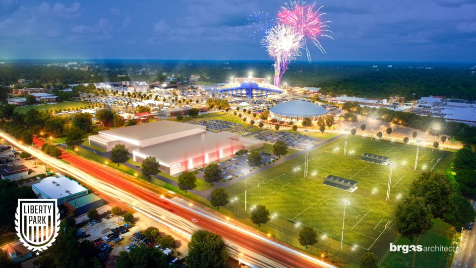 <strong>This rendering of Liberty Park/Fairgrounds looks to the northeast with the 277,000-square-foot Memphis Sports and Events Center fronting on East Parkway and athletic fields at the East Parkway and Southern Avenue corner.</strong> (Source: LibertyParkMemphis.com)