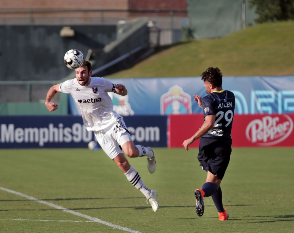 <strong>North Carolina FC defender Conor Donovan (20) denies Memphis 901 FC forward Brandon Allen (29) the ball during a home match at AutoZone Park Aug. 8, 2020.</strong> (Patrick Lantrip/Daily Memphian file)