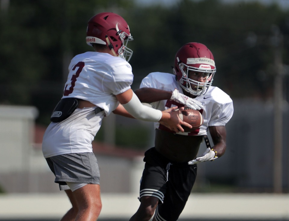 <strong>Evangelical Christian School running back Jaylen Greenwood (24) rushes the ball during an Aug. 12, 2020 practice.</strong> (Patrick Lantrip/Daily Memphian)