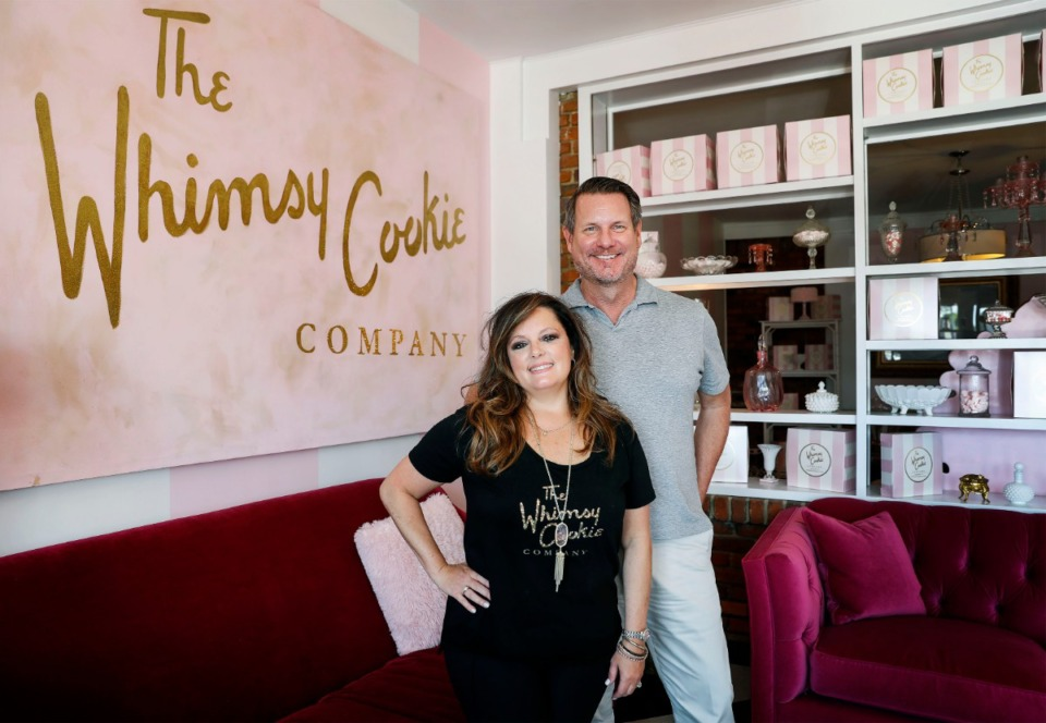 <strong>The Whimsy Cookie Company founder and co-owner Laurie Suriff (left) and president John Kutac in their popular cookie store on Thursday, Aug. 6, 2020.</strong> (Mark Weber/Daily Memphian)
