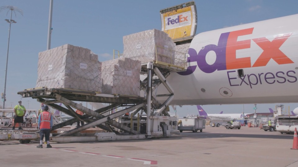 <strong>A shipment of 400,000 hospital gowns arrived Saturday, Aug. 15, 2020 at Memphis International Airport. Baptist Memorial Hospital chartered the flight from China to ensure getting an adequate supply of gowns.</strong> (Photo courtesy FedEx)